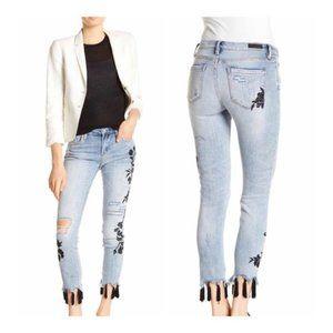 BLANKNYC Tassel Embroidered Distressed Skinny Jean